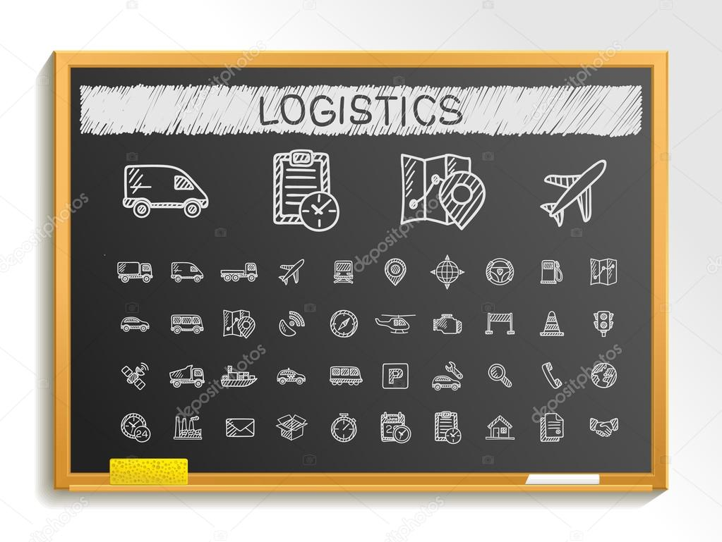 Logistic hand drawing line icons