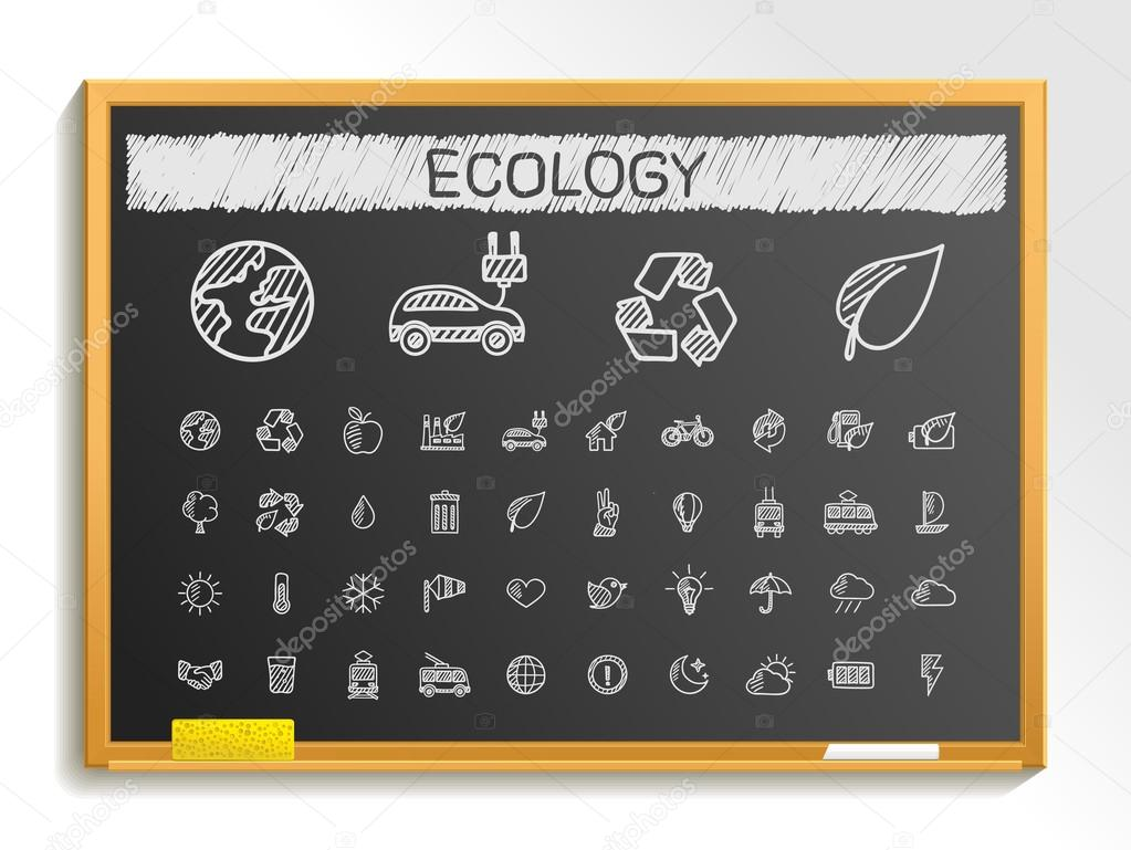 Ecology hand drawing line icons