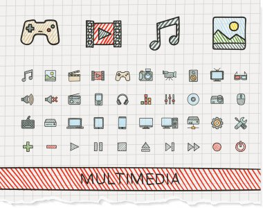 multimedia hand drawing line icons.