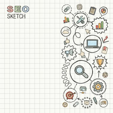 SEO hand draw integrated icons