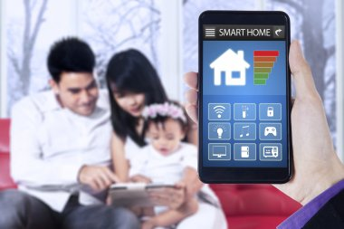 Smart home app and family in house