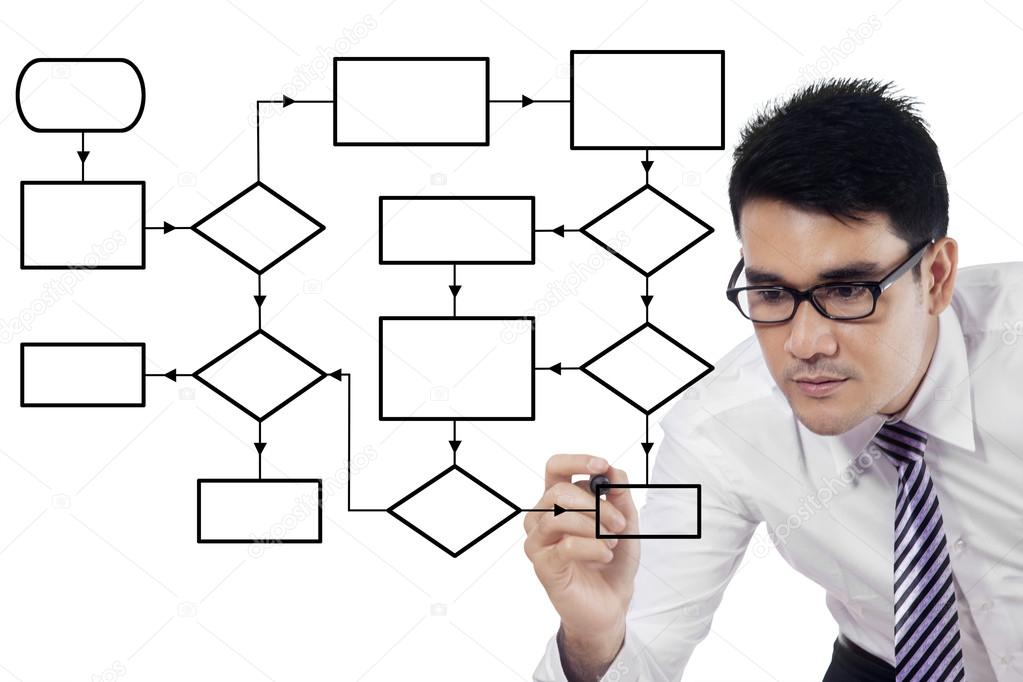 Empresario hace diagrama de flujo de vaco foto de stock empresario hace diagrama de flujo de vaco foto de stock ccuart Images