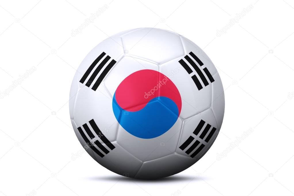Balón De Fútbol Con La Bandera De Corea Del Sur