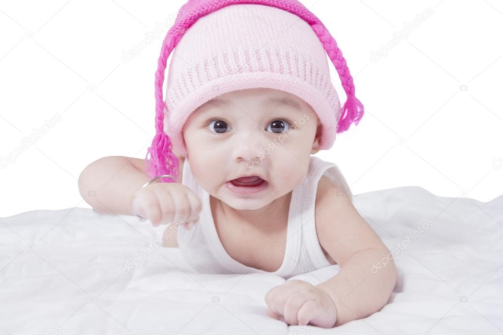 buy online lowest discount unique design Funny baby boy with hat on bed — Stock Photo © realinemedia ...