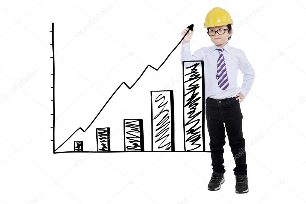 Junge Mit Helm Finanzielle Graphen Zeichnen Stockfoto