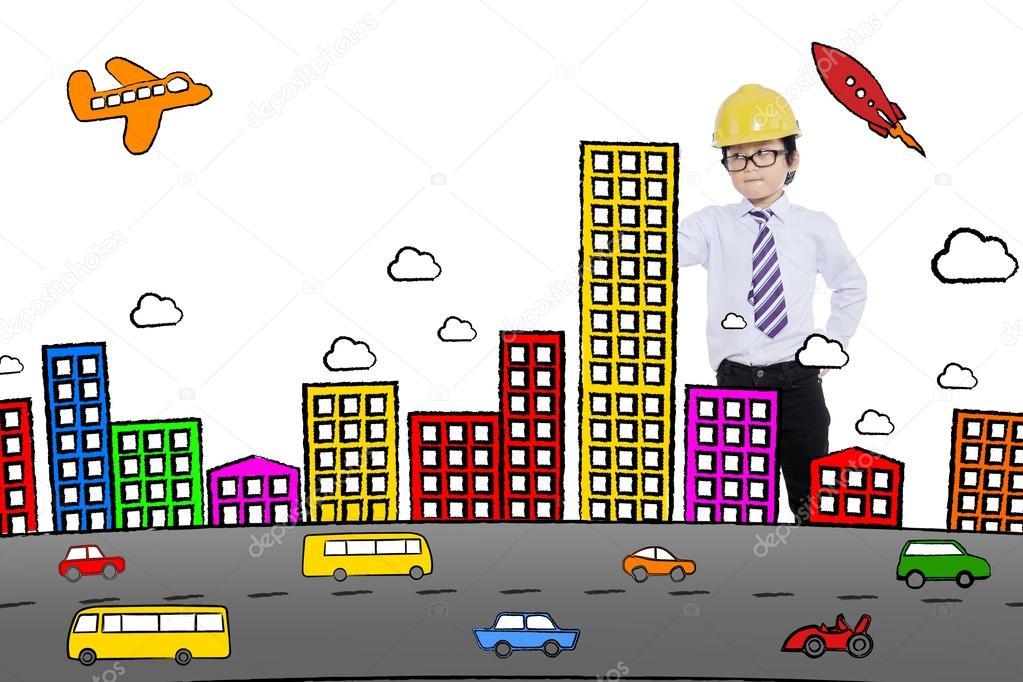 Schuler Zeichnen Eine Stadt Stockfoto C Realinemedia 123977160