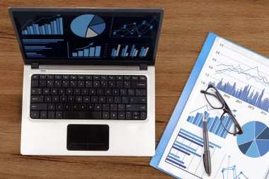 Financial analysis with business chart