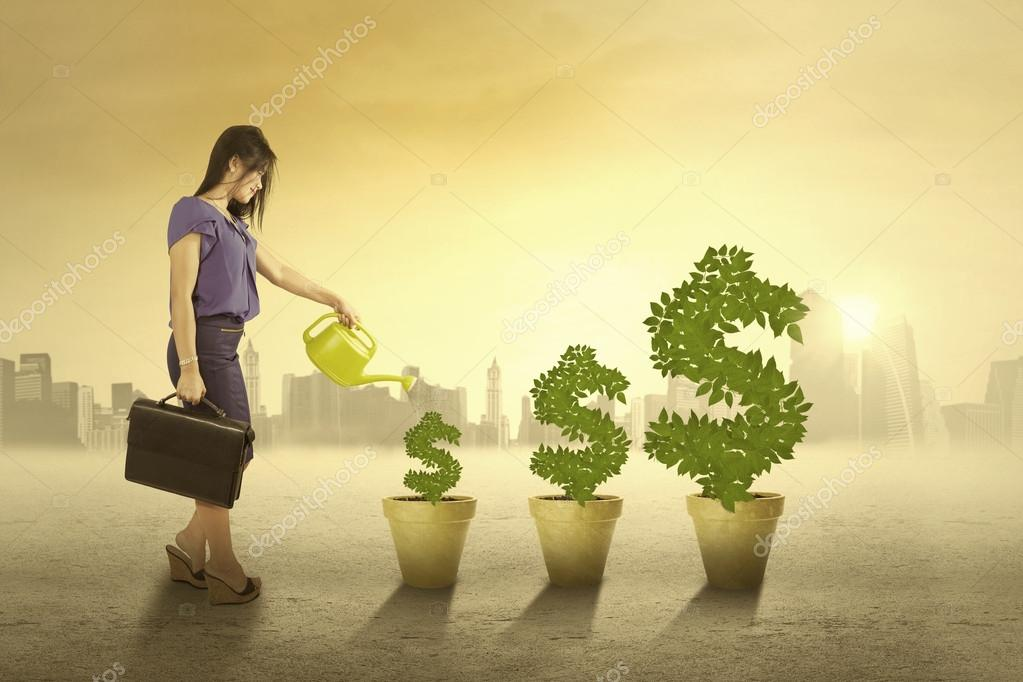 Woman watering the money trees outdoors