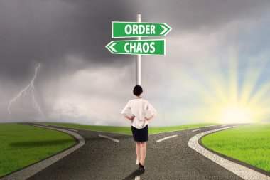 Businesswoman facing a business decision