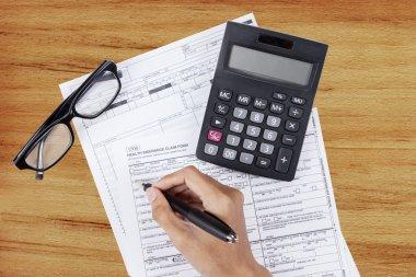 Filling health insurance claim form