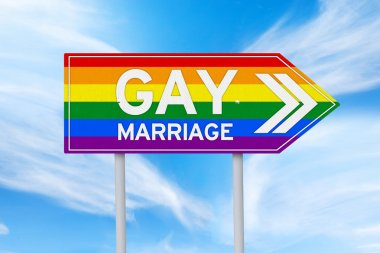 Colorful signpost of gay marriage