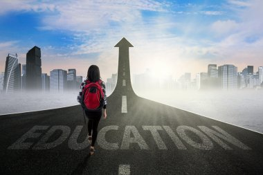 Female learner on the education way