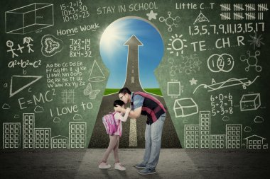 Young father kiss his daughter before going to school in front of a key hole with scribble and upward arrow stock vector