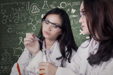 Female students doing research together in lab