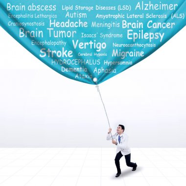 Doctor pulling a banner of brain diseases
