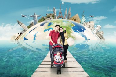Two parents with baby travelling around the world
