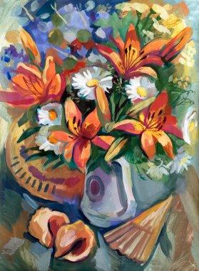 "Картина, постер, плакат, фотообои ""Натюрморт в букет цветов"", артикул 60943361"