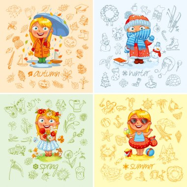 Baby girl and the four seasons. Freehand drawing autumn, winter, spring, summer items on a sheet of exercise book. Vector illustration. Set stock vector