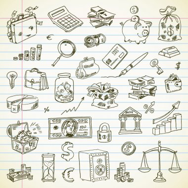 Freehand drawing Business and Finance items on a sheet of exerci