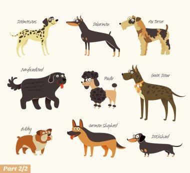 Dog breeds. Dalmatians, Bulldog, Newfoundland, Doberman, Great Dane, Fox Terrier, Poodle, Dachshund, German Shepherd. Funny cartoon character. Vector illustration. Isolated on white background. Set 2 clip art vector