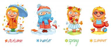 Baby girl and the four seasons. Vector illustration. Isolated on white background. Set stock vector