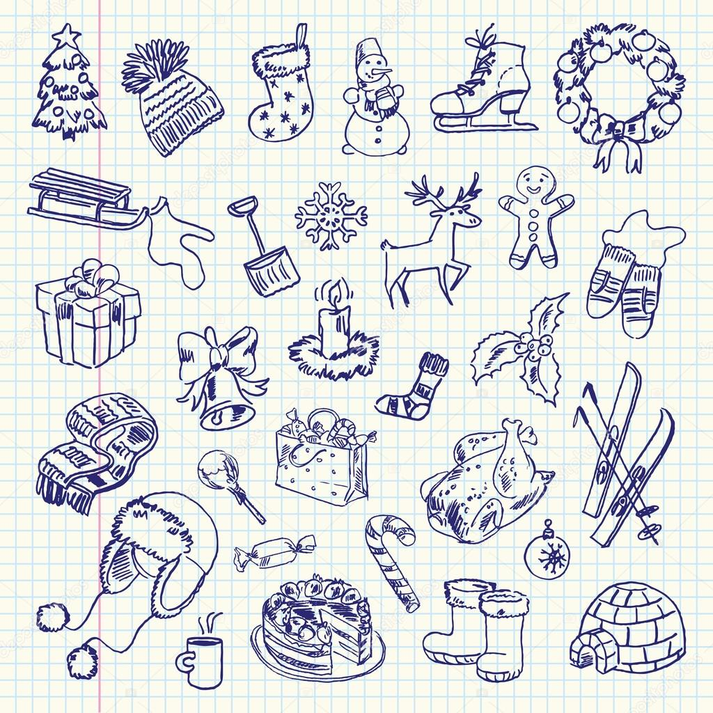 Freehand drawing Winter holiday items