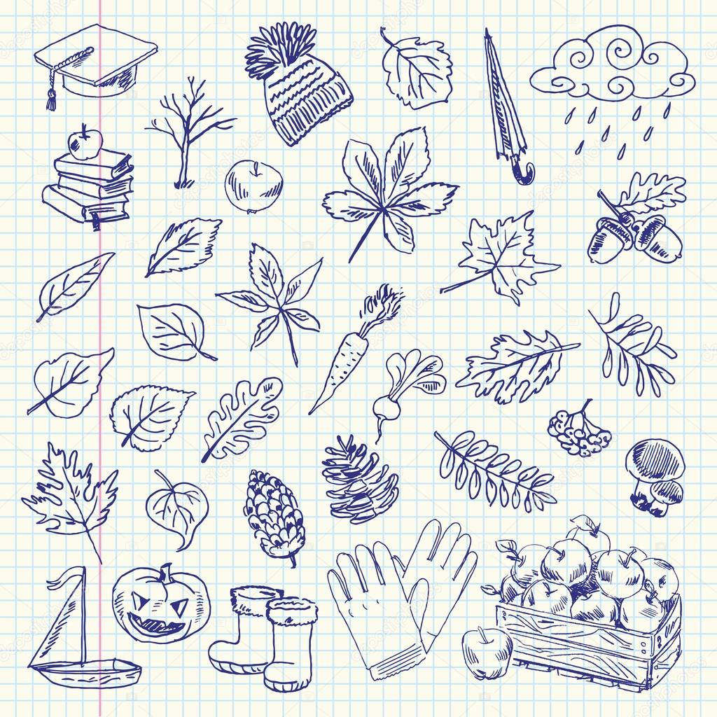 Freehand drawing autumn items on a sheet