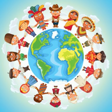 Multicultural character on planet earth cultural diversity traditional folk costumes. Different culture standing together holding hands. Unity people from around the world. Vector illustration stock vector