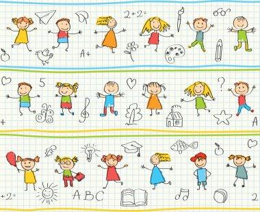 Children's drawings in the school notebook