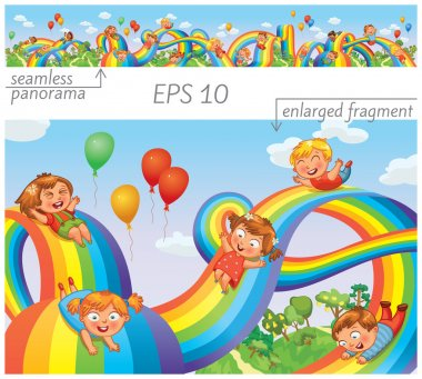 Children slide down on a rainbow