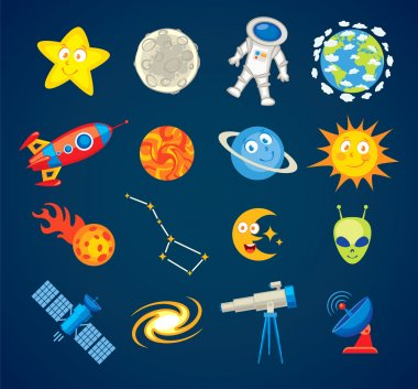 Trendy astronomy icons. Funny cartoon character