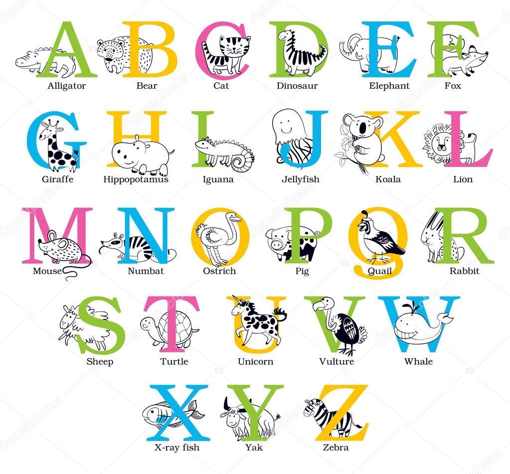 Cute Animal Alphabet Stock Vector Kharlamova_lv #61096697