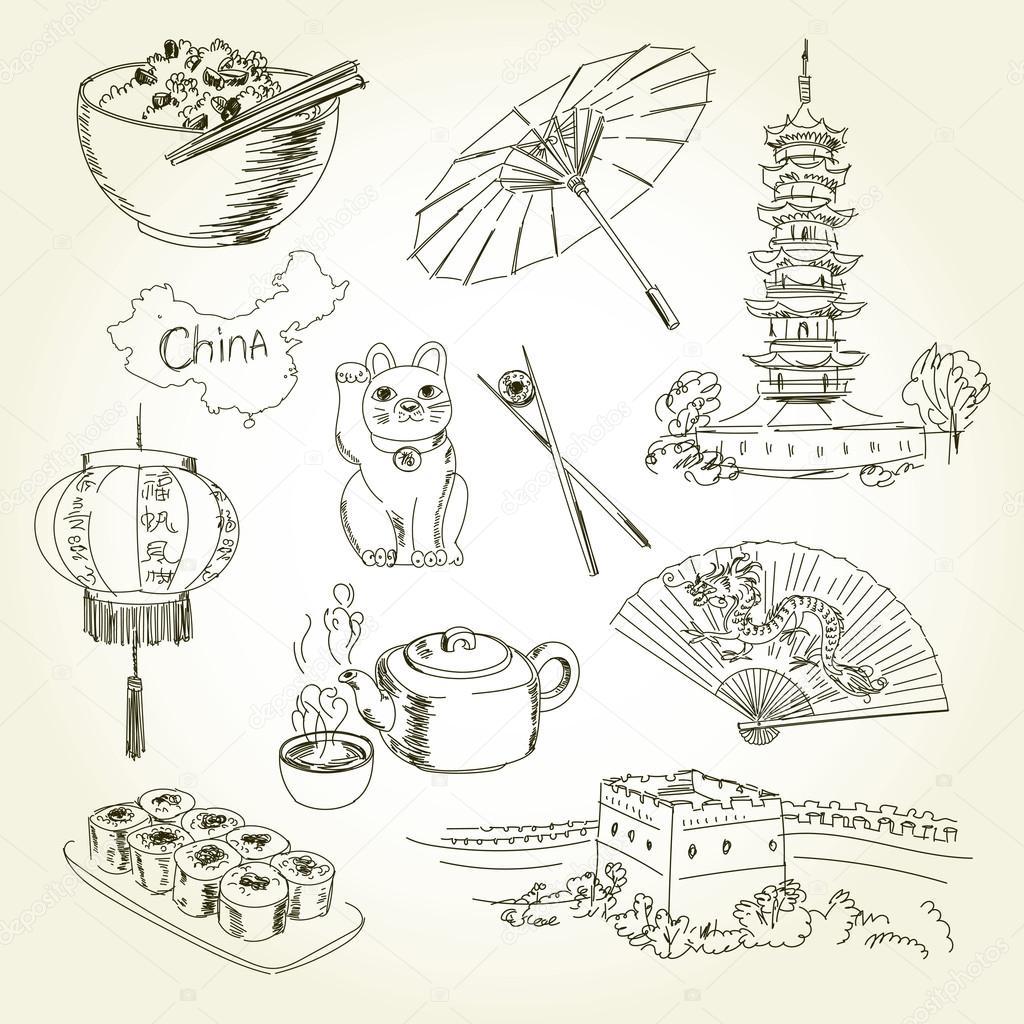 Freehand éléments De Dessin Chine Image Vectorielle Kharlamovalv