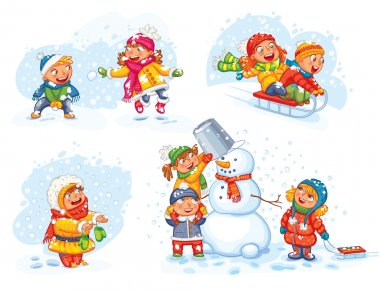 Playing outdoor. Children sledding. Boy and girl playing in snowballs. Schoolchildren making the snowman. Girl trying to catch snowflakes with her tongue. Funny cartoon character. Vector illustration. stock vector