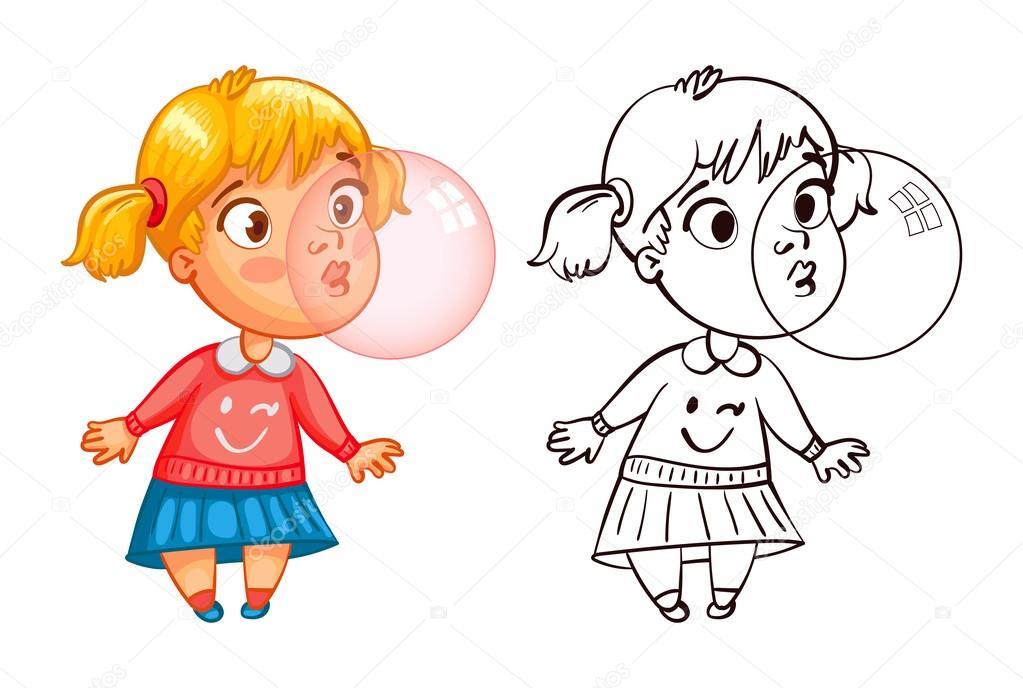 Niño soplando burbujas dibujo para colorear   Muchacha divertida ...