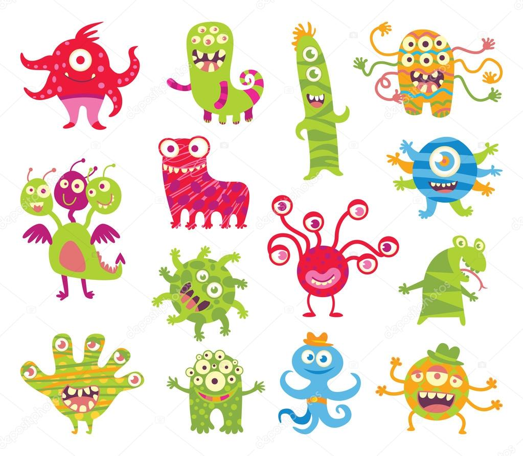 Set of funny little monsters