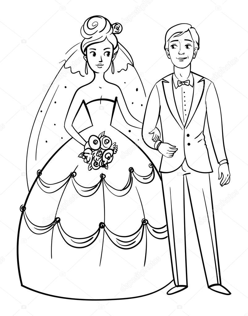 novia y novio — Archivo Imágenes Vectoriales © kharlamova_lv #94342942