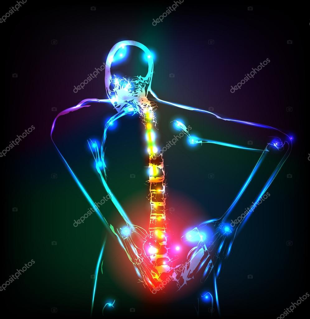 columna vertebral humana en radiografía, dolor de espalda, fácil ...