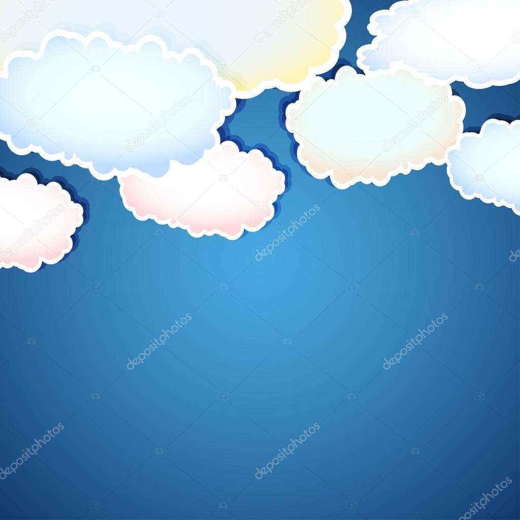 Vector abstract background with clouds, easy all editable
