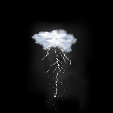 Lightning flash strike on sky background, easy all editable