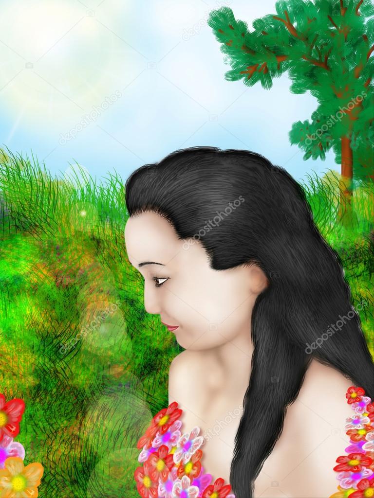 Profil De La Jeune Fille Avec Des Fleurs Photographie Zucker