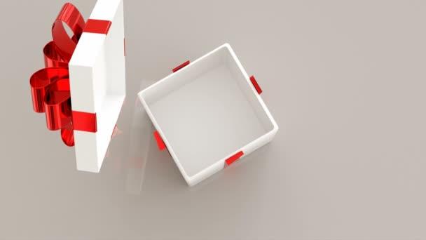 Otevírají se dárkové krabice. Animace 4 různých Vánoční dárky s pěknými stuhami otevření. 3D vykreslování
