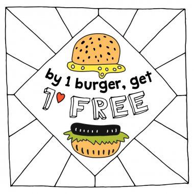 Hand-drawn burgers. With the word