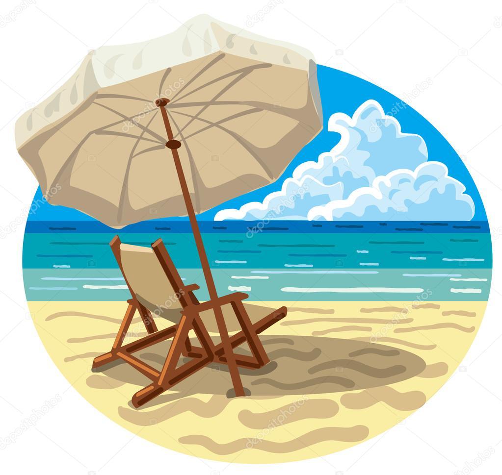 Disegno Ombrellone E Sdraio.Sedia E Ombrellone Sulla Spiaggia Vettoriali Stock C Olegtoka1967