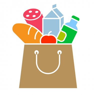 Illustration of the food paper bag icon icon