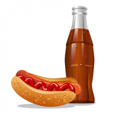 Cola and hotdog
