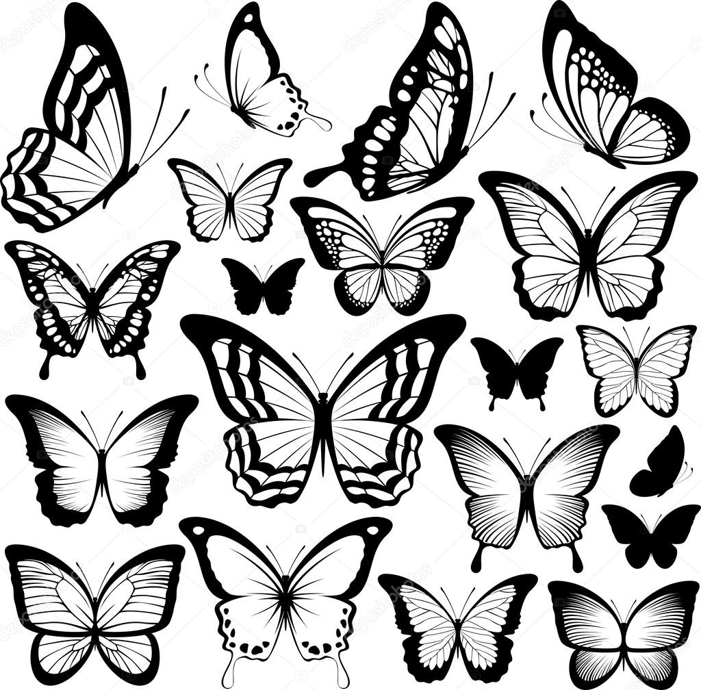 Line Drawing Butterfly Tattoo : Siluetas de mariposa negra — vector stock hayaship
