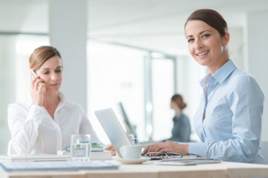 confident business women working
