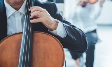 Professional cello player performing