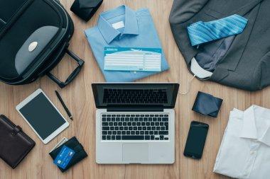 a laptop on a desktop, travel concept